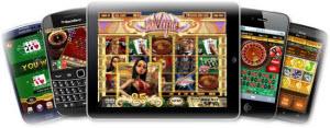 Mobila casinon på olika telefoner och en ipad