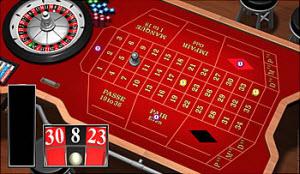 Ett franskt roulettebord med den klassiska röda duken