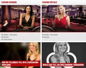 Spela med live dealers i Unibets casino