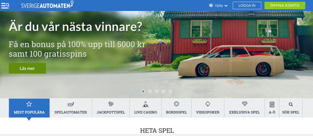 SverigeAutomaten - 5000 kr + 100 free spins i bonus!