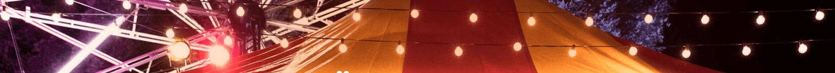 Rizk banner printscreen cirkustalt med ljusslingor