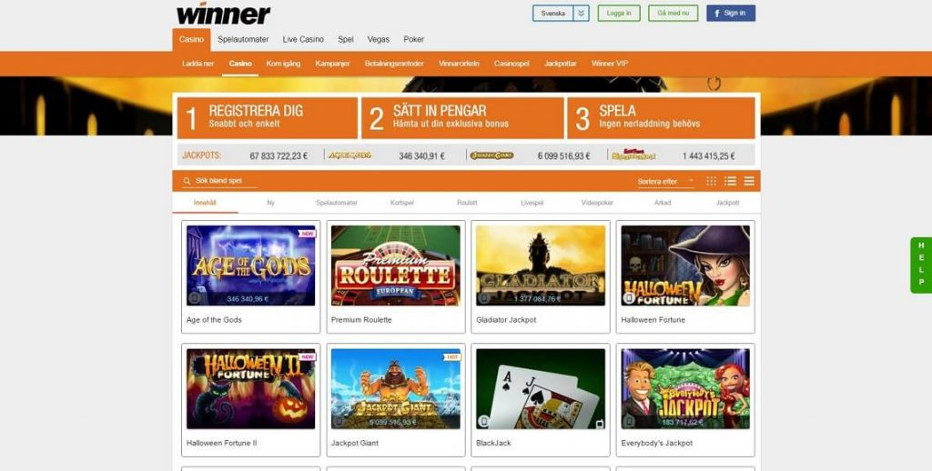 Spela på Winner Casino med stora bonusar och free spins
