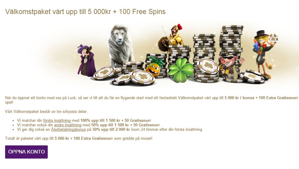 Luck.com - FГҐ 5000 kr + 100 free spins i bonus.