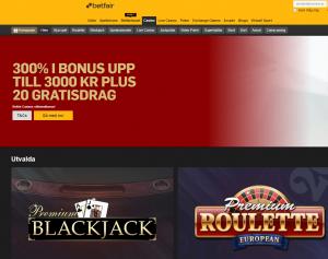 Betfair Casino startsida bonus