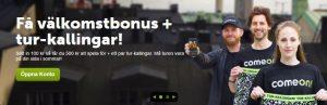 Spela på come on med casino bonusar och gratis free spins