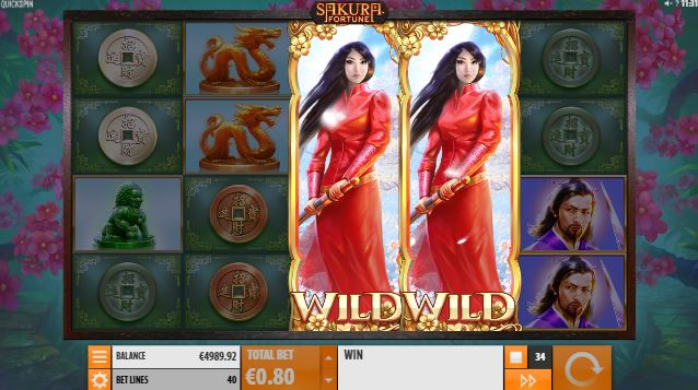 Wilds i Sakura Fortune slot