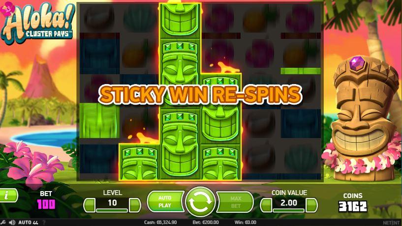 Få Sticky Win Re-spins och få större vinstchanser i Aloha! ClusterPays