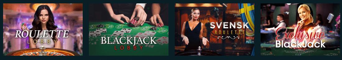 Spela live casino utbud