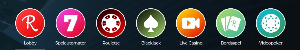 Rolla spelutbud kategorier