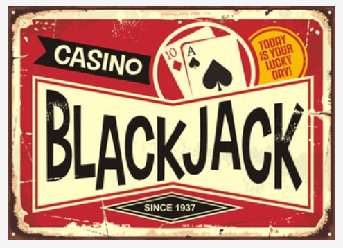 Blackjack historia retro casino skylt